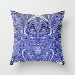 Mirror Blue Oil Gestalt Abstract II Throw Pillow