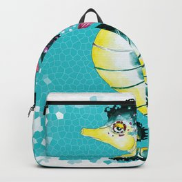 Seahorse Teal Stained Glass Pattern Backpack