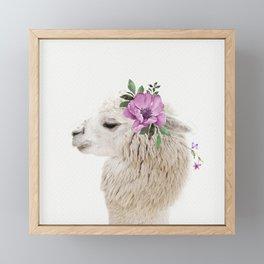 Baby Alpaca with Flower Crown Framed Mini Art Print