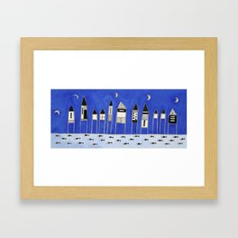 Tiny houses and fish in blue Framed Art Print