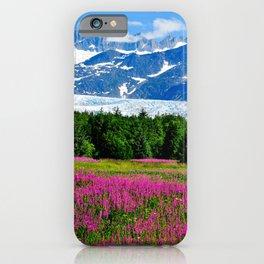 Alaska USA Nature Mountains Lupinus landscape photography Trees Shrubs mountain Scenery Bush iPhone Case