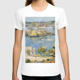 Classical Masterpiece 'Gloucester Harbor Landscape' by Frederick Childe Hassam T-shirt