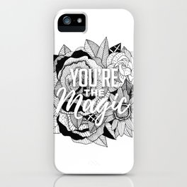 Hand Drawn Floral Typography Illustration iPhone Case