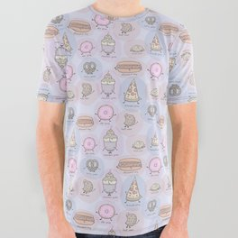 Junk Food as Yoga Poses All Over Graphic Tee