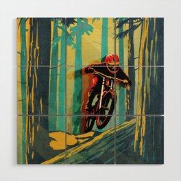 RETRO MOUNTAIN BIKE POSTER LOG JUMPER Wood Wall Art