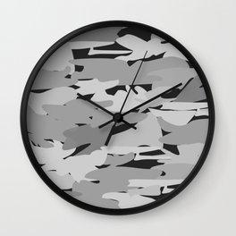 Camo - Black & white Wall Clock