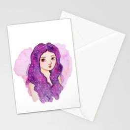 Galaxy hair Stationery Cards