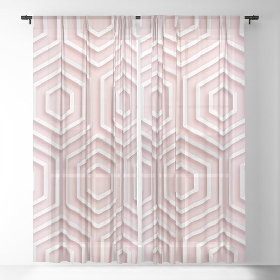 3D Hexagon Gradient Minimal Minimalist Geometric Pastel Soft Graphic Rose Gold Pink by aej_design