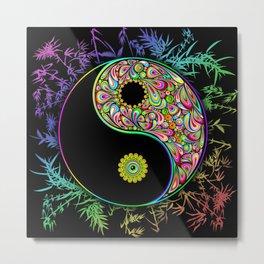 Yin Yang Bamboo Psychedelic Metal Print