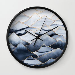 Mountains 2 - Gold Colored Lines Wall Clock