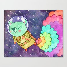 Flying to the Moon Bear Canvas Print