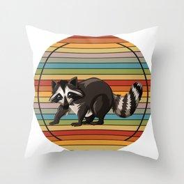 Raccoon Colorful Throw Pillow