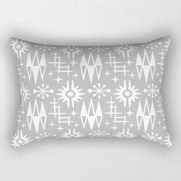 Mid Century Modern Atomic Space Age Pattern Grey Rectangular Pillow