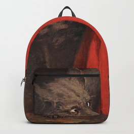 Little Red Riding Hood and the Big Bad Wolf portrait painting by Jesse Wilcox Smith Backpack