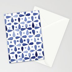 Imperfect Geometry Blue Petal Grid Stationery Cards