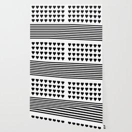 Heart Stripes Black on White Wallpaper
