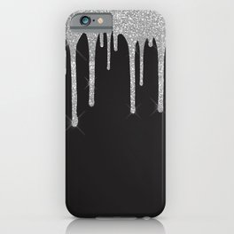 Black & Silver Glitter Drips iPhone Case