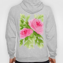 Pink Peonies in Watercolor Hoody
