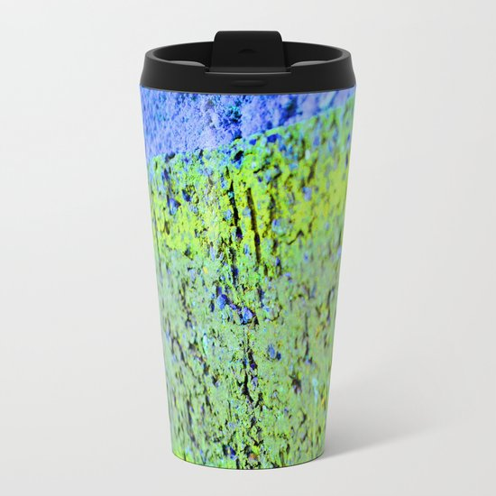Neon Blue Brick Abstract Metal Travel Mug