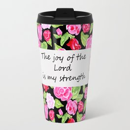 Roses on Black with Scripture Travel Mug