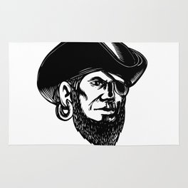 Pirate Wearing Eye Patch Scratchboard Rug