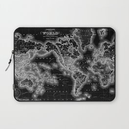 Black and White World Map (1864) Inverse Laptop Sleeve
