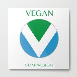 Vegan International Flag Round Metal Print