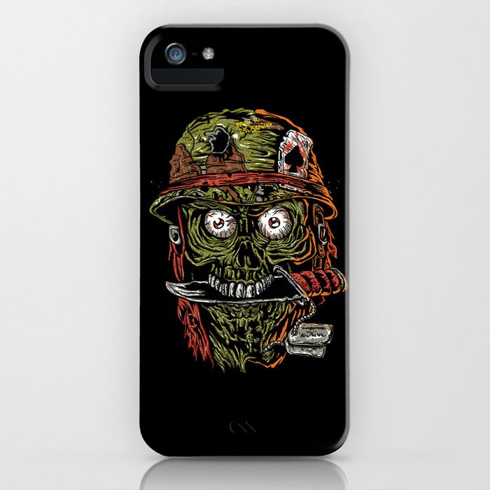 military zombie with knife in mouth. iPhone Case