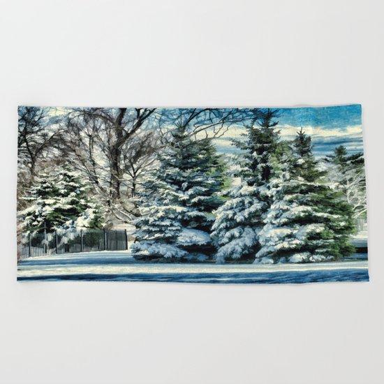 Winter In New England Beach Towel