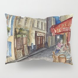 Postcards from Paris - Montmartre by Night: Le Tire-Bouchon Creperie Pillow Sham