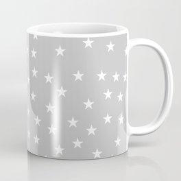 Light grey background with white stars seamless pattern Coffee Mug