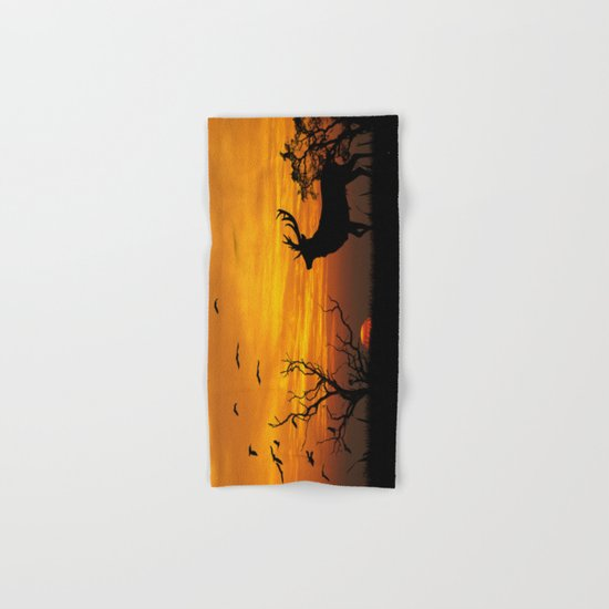Sunset Deer Silhouette  Hand & Bath Towel