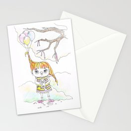 A girl with balloons Stationery Cards