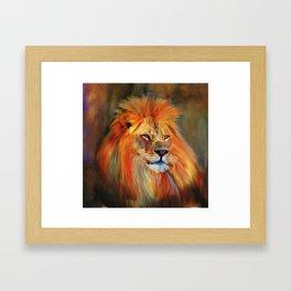 Aslan - Colorful Lion Framed Art Print
