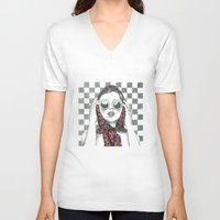 polka dot V-neck T-shirts featuring Vintage Polka Dot Beauty  by Lucy Schmidt Art