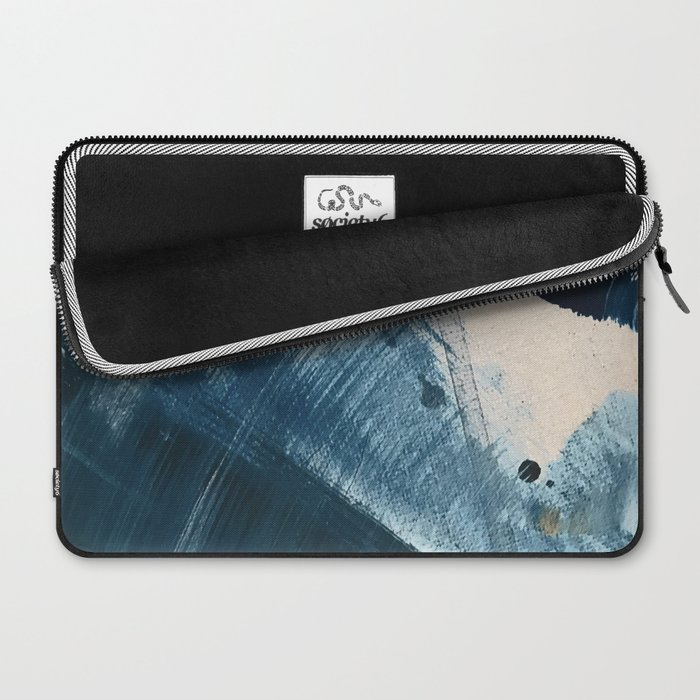 Against the Current [2]: A bold, minimal abstract acrylic piece in blue, white and gold Laptop Sleeve