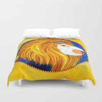 leo Duvet Covers featuring Leo by Sandra Nascimento