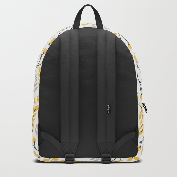 Yellow Floral on White Backpack