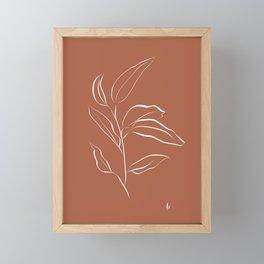 Leaf Stem: Botanical Print (White and Terracotta) Framed Mini Art Print