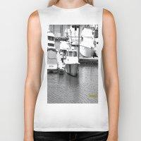 boats Biker Tanks featuring Boats BW by BeachStudio