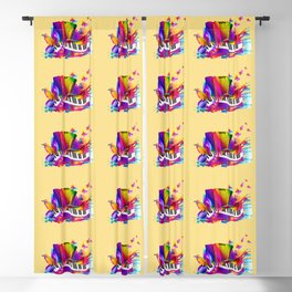 Colorful music instruments , accordion design Blackout Curtain