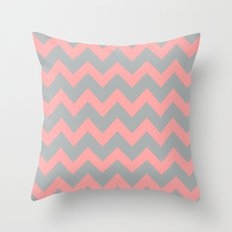 Chevron Grey Coral Pink Throw Pillow