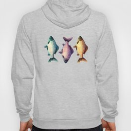 Colorful fishes pattern with bluish background Hoody