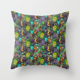 Lovecraft Chibi Bestiary II Crowded ver Throw Pillow