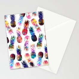 watercolor and nebula pineapples illustration pattern Stationery Cards