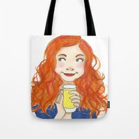 amy pond Tote Bags featuring Amy Pond Lemonade by Lena Lang