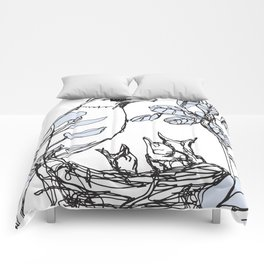 Robin's Nest (a one-line drawing) Comforters