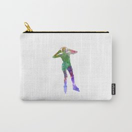 Woman in roller skates 04 in watercolor Carry-All Pouch