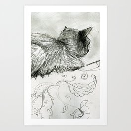 Fluffers on the Sofa Art Print