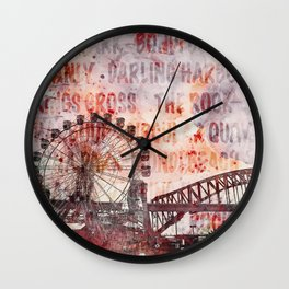 Sydney Luna Park Mixed Media Art Wall Clock